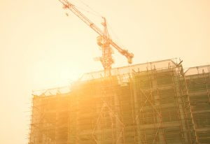 A new commercial building is under construction in an Opportunity Zone.